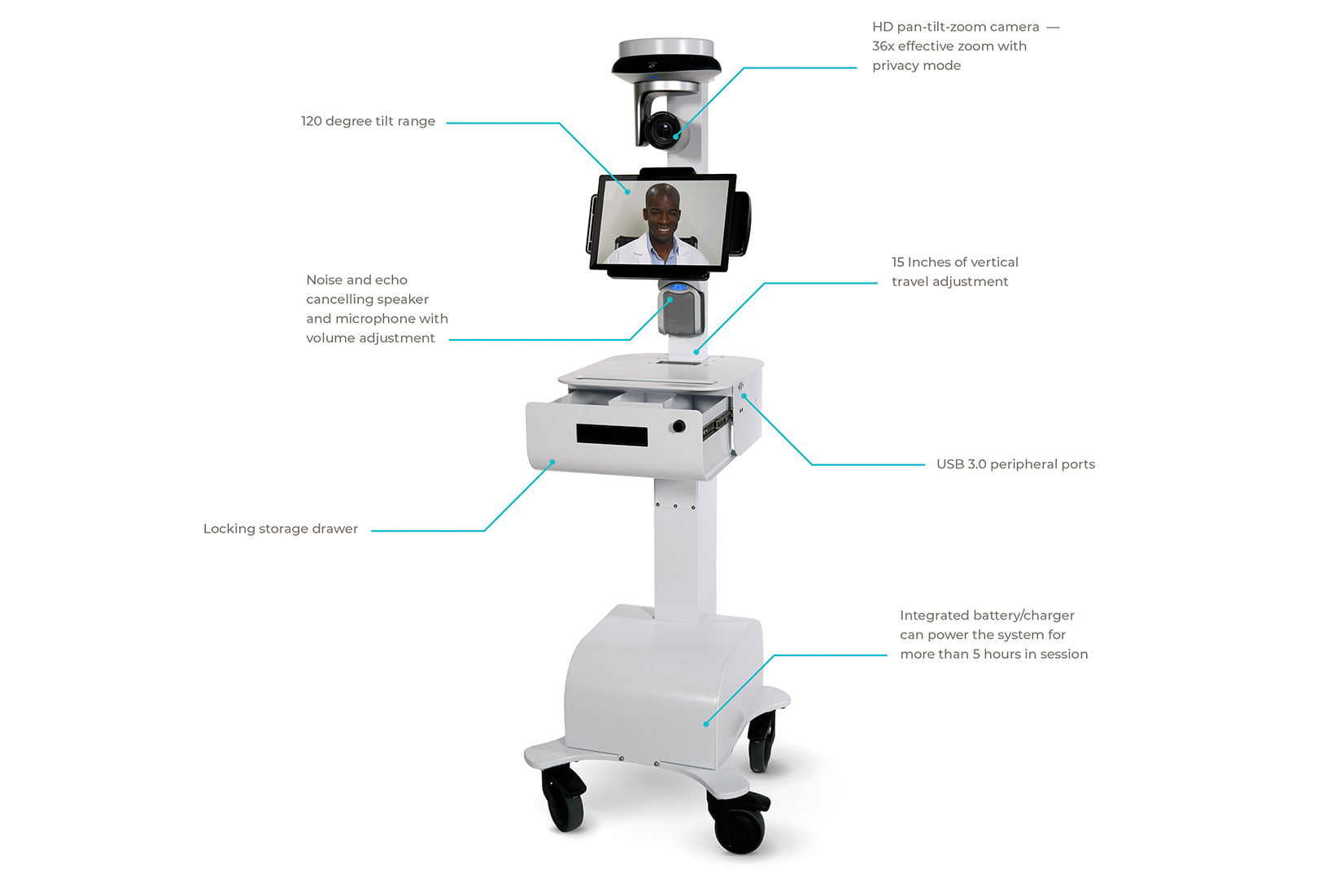 The robot, known as Vici, was developed by InTouch Health / Courtesy of inTouch Health